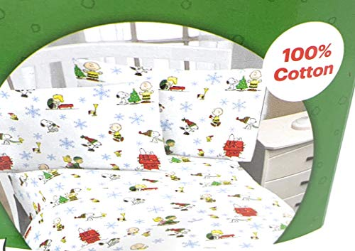 Peanuts Snoopy Christmas Flannel All Cotton Holiday Snowflakes Sheet Set Woodstock Charlie Brown in Bag - 3 pc Twin (Peanuts Sheets Twin)