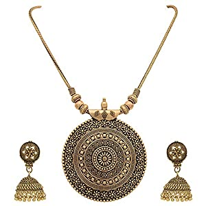 Sasitrends Oxidised German Silver Pendant Necklace with Earrings for Women and Girl's