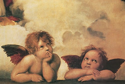 Raphael Winged Cherubs On Elbows Art Print Poster 18x12 (Renaissance Cherub)