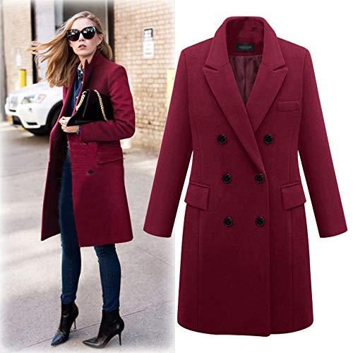 Inverlee Womens Winter Lapel Wool Coat Trench Jacket Long Parka Overcoat Outwear Wine Red
