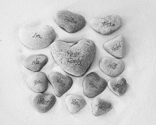 Family Heart Rocks with Name Wall Art Print