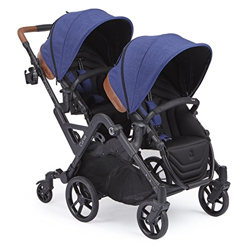 Contours Curve Tandem Double Stroller for Infants, Toddlers or Twins - 360° Turning and Easy Handling Over Curbs, Multiple Seating Options, UPF50+ Canopies, Indigo Blue