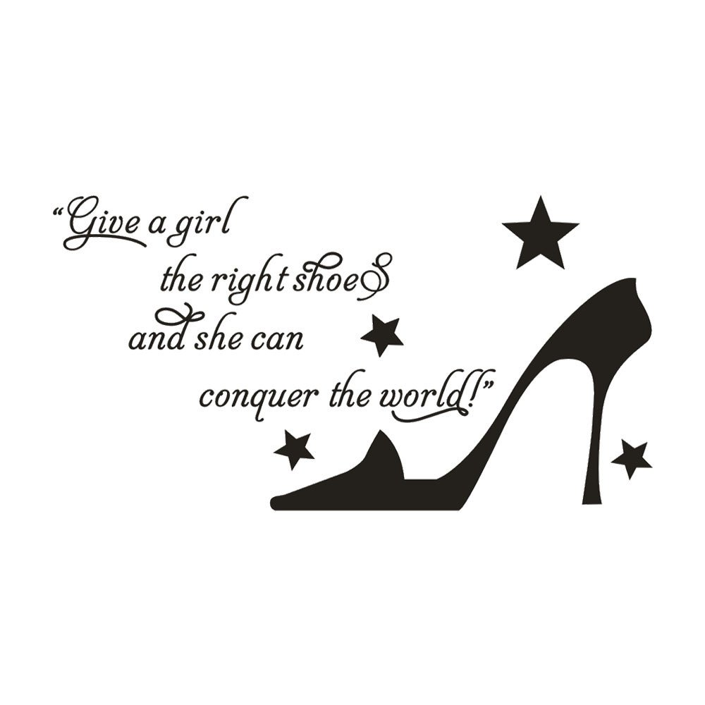 EdC DIY The Right Shoes Decorative Wall Stickers, Removable Wallpaper Lovely Wall Decoration Romantic Sweet Cute for Living Room Nursery Kids Bedroom TV Wall Decal Home Art Vinyl Mural Decor