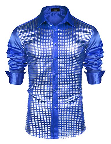 COOFANDY Men's Silver Sequin Dress Shirts Long Sleeve 70s Disco Party Prom Costume Button Down -