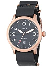 AVI-8 Men's AV-4021-04 FlyBoy Japanese-Automatic Watch With Black Leather Band