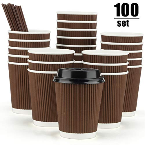 Drink Hot Lids Cups Plastic - Eupako 8 oz Disposable Coffee Cups 100 Pack Ripple Wall Paper Cups To Go, Insulated Corrugated Cups with Lids and Straws, Perfect for Hot and Cold Drinks