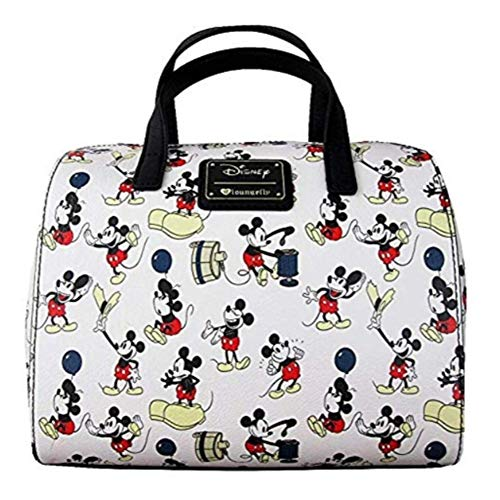 (Loungefly Mickey Balloon AOP Barrel Bag  One Size ,White )