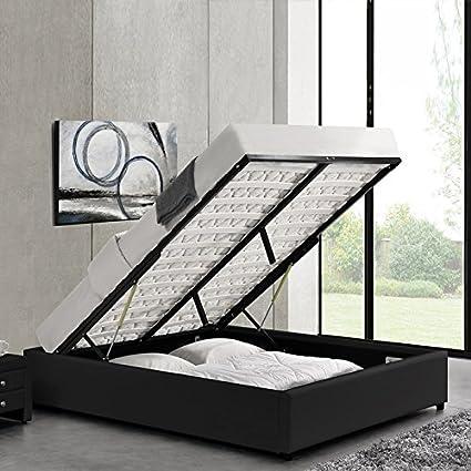 Designetsamaison Cama con baúl de Almacenamiento Negro con somier 140 x 190 cm – Eveil