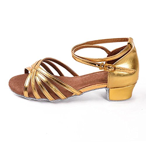 YFF Children Girls Ballroom/Latin Dance Shoes Professional Tango Heeled Salsa Shoes Women ,Gold,12.5