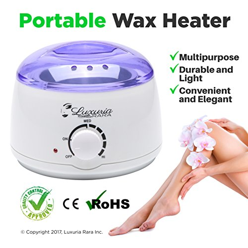 Wax Warmer Melting Pot Electric Hot Wax Heater for Facial Hair Removal Total Body Brazilian Waxing Salon or Self-waxing Portable Plug in Full Size Single Paraffin Can and All Types of Hair Removal Wax