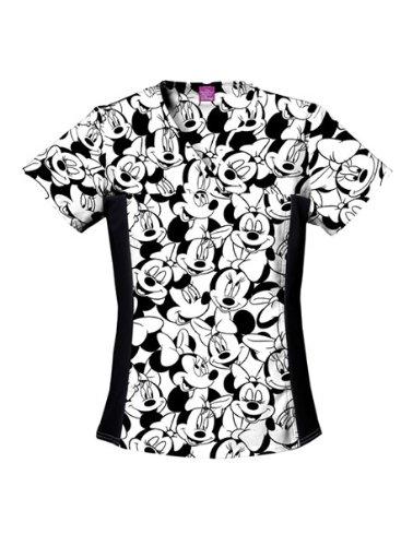 Disney Cherokee Women's V-Neck Knit Panel Top Big Minnie, Black, X-Small -