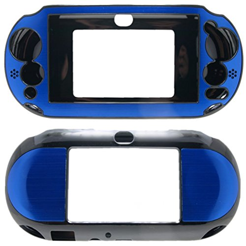Price comparison product image For PlayStation PS VITA 2000 Slim (PCH-2000 Slim Only) Hybrid Brushed Aluminum Metal Plated Crystal Case Cover + Screen Protector (Many Colors Available) (Deep Blue)