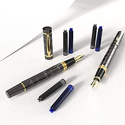 Wordsworth /& Black Fountain Pen Set Medium Nib-Journaling and Calligraphy-Smooth Writing Pens 6 Free Ink Cartridges /& Ink Refill Converter-Luxury Christmas Gift-Perfect for Men /& Women Brown-Gold