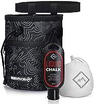 Survivor Chalk Bag + Refillable Chalk Ball + Liquid Chalk - Draw String & 2 Zippered Pockets - Black Chalk