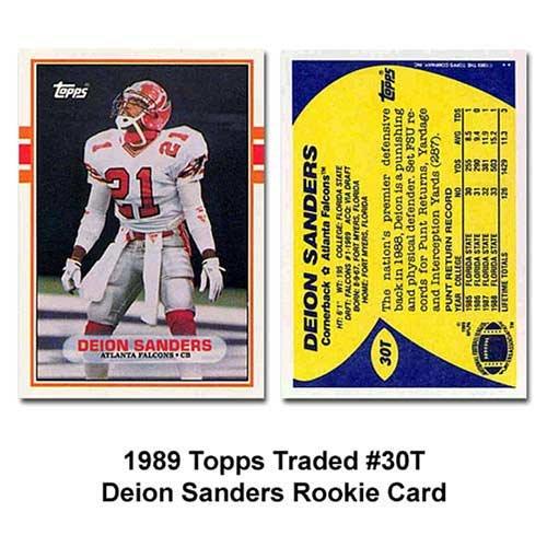 Topps Atlanta Falcons Deon Sanders 1989 Rookie Traded Trading Card