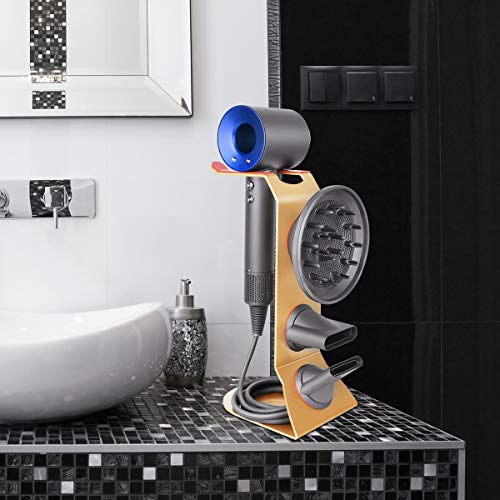 Fle Hair Dryer Stand Holder, Gold Hair Blow Dryer Stand Rack Organizer Compatible for Dyson Supersonic Hair Dryer, Diffuser, Nozzle by Fle (Image #2)
