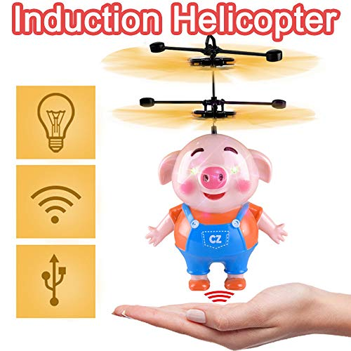 LtrottedJ Hand Flying Piggy LED Mini Induction Suspension RC Aircraft Flying Toy Drone -