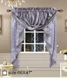 Royalty Custom Waterfall Window Valance Swags & Tails for the window width less than 45 inch (66x47inch, Sliver)