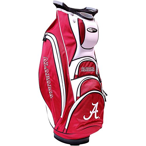 Team Golf NCAA Alabama Crimson Tide Victory Golf Cart Bag, 10-way Top with Integrated Dual Handle & External Putter Well, Cooler Pocket, Padded Strap, Umbrella Holder & Removable Rain Hood