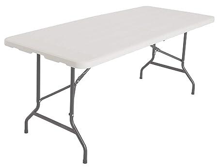 Xone Tavolo Pieghevole Stampo Legno Bianco con Struttura in Metallo e Piano  in Resina, Dimensioni Tavolo 180x75,5x74cm, per Interni e Giardino
