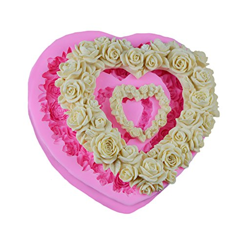 Dylandy Mold New Heart Shaped Wreath Rose Fondant Mould Silicone Cake Mould Chocolate Mould Fruit Ice Mould
