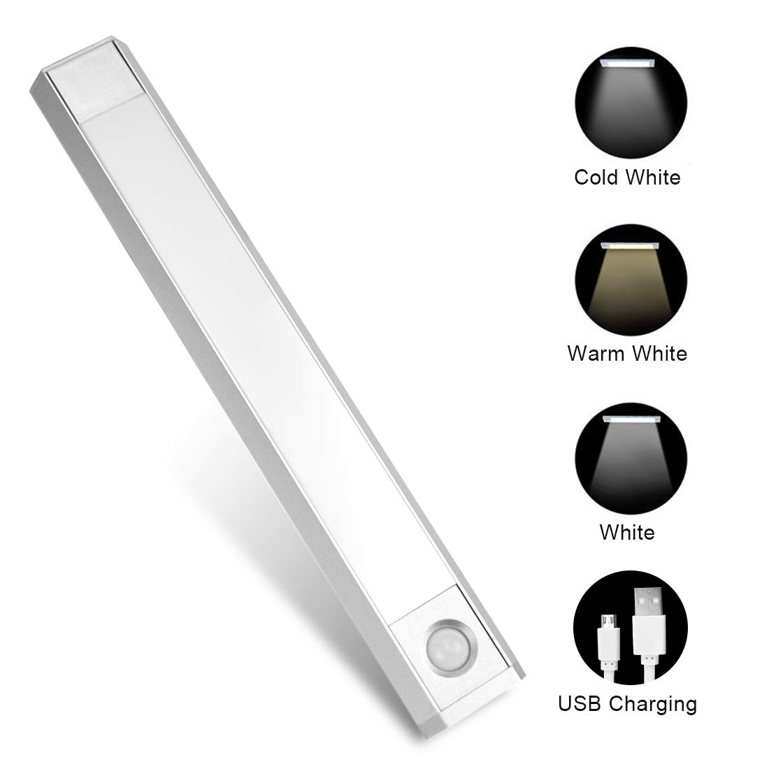 Closet Light, 60 LEDs Rechargeable Motion Sensor Under Cabinet Light with Large Battery Life Wireless for Closet,Cabinet,Wardrobe,Kitchen,Hallway 3 Colors 3 Modes