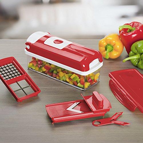Genius nicer dicer smart julietti set de 13 pi ces rouge appareil d coupe l gumes et - Appareil julienne legumes moulinex ...
