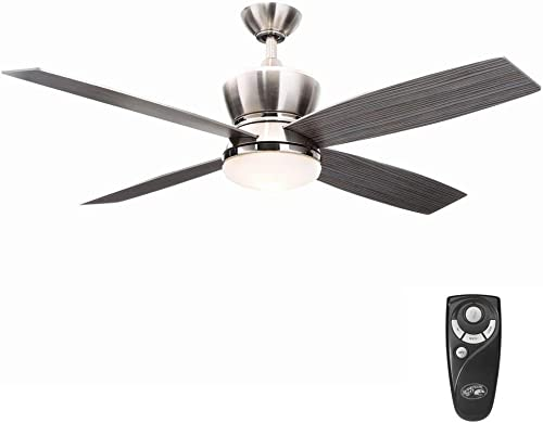 Hampton Bay 42nd Street 52 in. Indoor Brushed Nickel/Polished Nickel Ceiling Fan