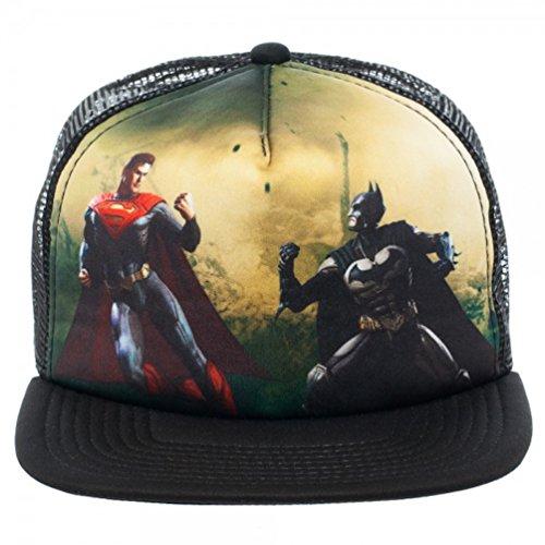 Dc Print Hat (DC Comics Injustice Batman Vs. Superman Full Print Trucker Baseball Cap Hat)