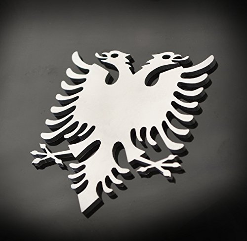 Stainless Steel Albania Eagle Metal Decorative Emblem Decal Ornament Crest Blasted, Mirror Polished, or Black 3