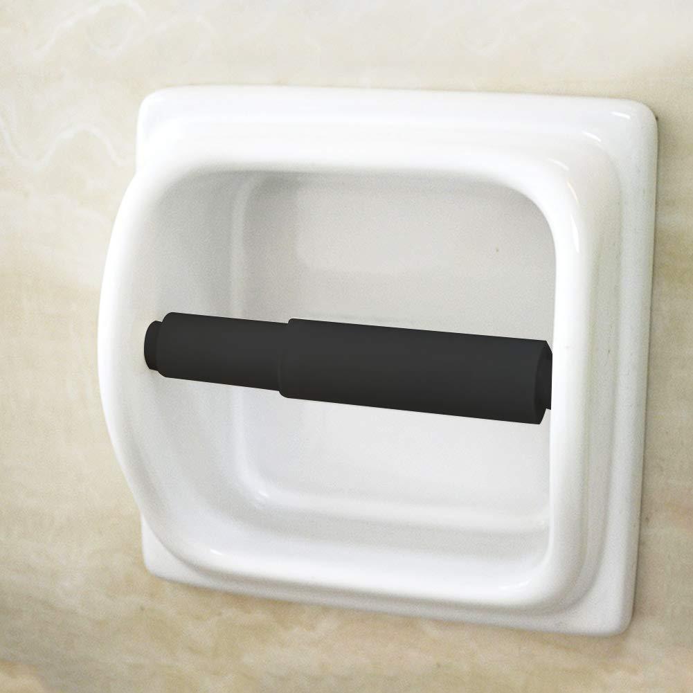 2pcs Toilet Paper Holder Roller Toilet Tissue Holder Replacement Plastic Spring Loaded(black)