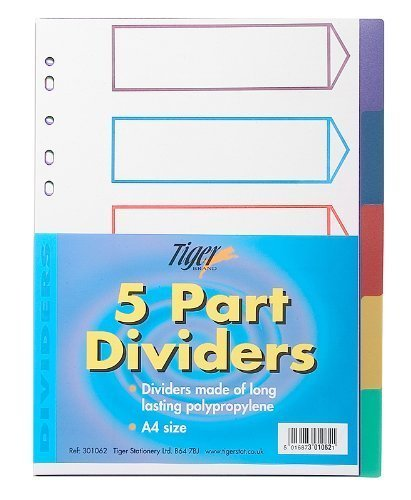 Pack of 50 Plastic 5 Part Dividers Stationary Office School Storage