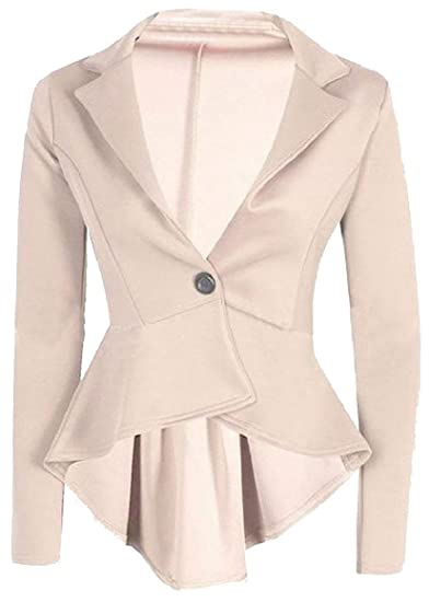 5b2635c8b Abetteric Womens Draped Tuxedo Peplum Blazer Long Sleeve Welt Solid ...