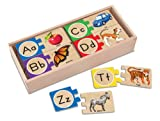 Toys : Melissa & Doug Self-Correcting Alphabet Wooden Puzzles With Storage Box (52 pcs)