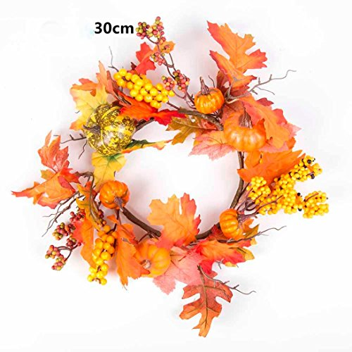 Gotd 30cm Berry Maple Leaf Fall Door Wreath Door Wall Ornament Thanksgiving Day Xmas Christmas Tree Decrations (Orange) (Spring Door Wreaths Sale)