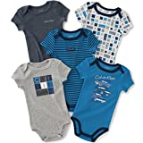 Calvin Klein Baby Boys' Assorted Short Sleeve Bodysuit, Navy/Gray, 0-3 Months (Pack of 5)