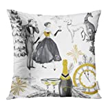 Emvency Decorative Throw Pillow Covers Cases Watercolor in Retro Beautiful Couple Bottle of Champagne Glasses Greyhound Dogs Jewellery Clock Celebrate 20x20 Inch Case Cover Cushion Two Sided