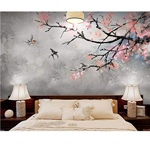 ATR Chinese Brick Wall Photo Wallpaper Murals for Living Room Bedroom? Cherry Blossoms Wallpaper, 320X220Cm (125.98X86.61 Inches) - Cherry 320