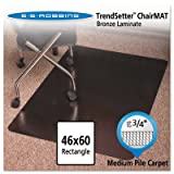 Stainless 60x46 Rectangle Chair Mat, Design Series for Carpet up to 3/4''