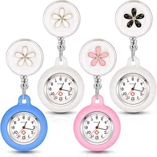 4 Pieces Nurse Watch for Nurses Doctors, Clip-on Hanging Lapel Nurse Watch Silicone Cover Brooch Fob Pocket Watch Badge Reel Retractable Digital Watch