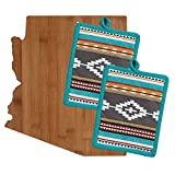 Arizona Kitchen Decor Cutting Board with Southwest Print Potholders (3 Item Bundle)