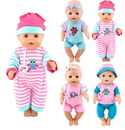 ibayda 4-Sets Nipple Doll Clothes Include Rompers Headband Hat for 43cm New Born Baby Dolls, 15 inch Bitty Baby Doll