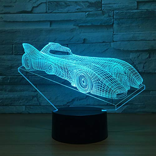 Control Plates Motion Charge (XYDYXL 3D Illusion Night Lights,Sports Car Stereo LED Table Desk Lamps 7 Colors Changing Touch Switch USB Charge Lighting Bedroom Home Decorative Lamp (Color : 4, Size : Touch))