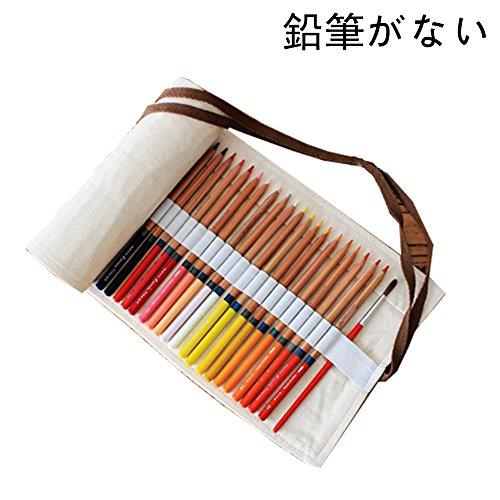 色鉛筆ケース 多機能巻き型デッサン用 帆布製 ロールペンケース ペンケース ペン袋 色鉛筆 エスニック 軽量 便利(米の白) (36スロット)