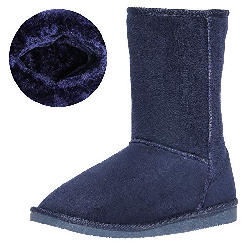 CINAK Women's Resistant Snow Warm Boots Gift Fashion Christmas Short Boots Suede Mid-Calf Boots (10-10.5 B(M) US/ CN42/ 10.2'', Navy Blue)