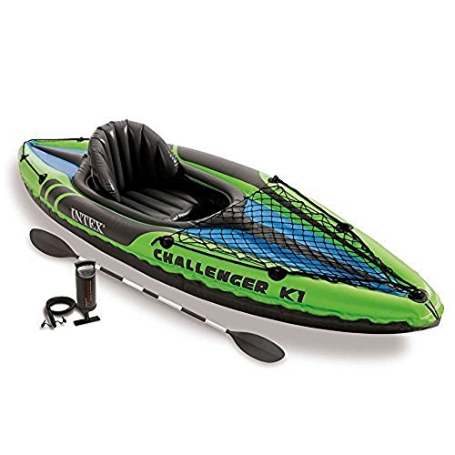 Intex Challenger K1 Kayak, 1-Person Inflatable Kayak Set with Aluminum Oars and High Output Air Pump (Set Inflatable)