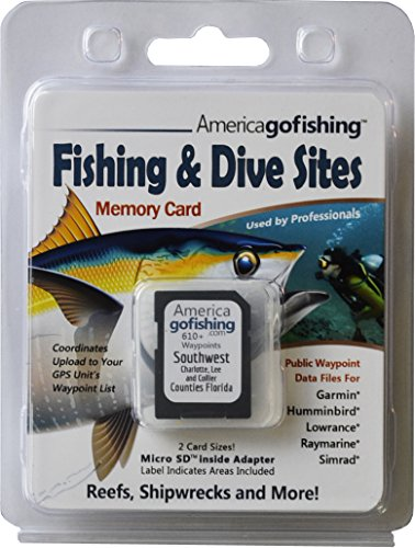 Fishing & Dive Sites Memory Card for Garmin® Humminbird® Lowrance® Raymarine® Simrad® (Garmin Chip)