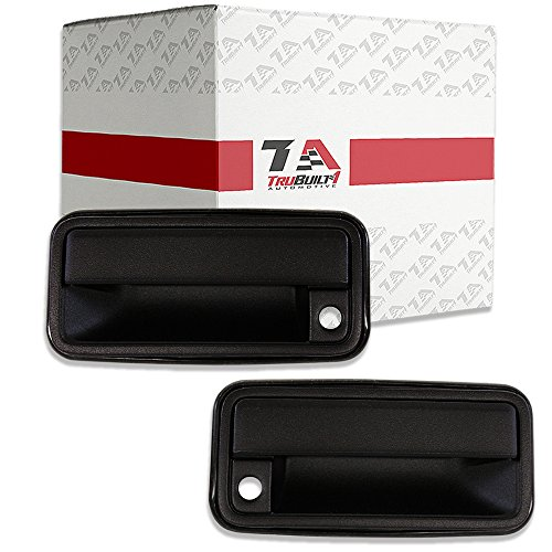 T1A Exterior Door Handles Replacement for 1995-2000 Chevy Tahoe, GMC Pickup, 1995-1999 Suburban, Yukon, 1999-2000 Cadillac Escalade, Black Color, fits Front Left Driver's and Right Passenger's Sides (K2500 Front Handle Suburban Door)