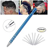 Hair Tattoo Trim Razor Pen 3rd Edition, for Hair Design Face Shaping, Engraved Pen/ 10 Blades/Tweezer, Eyebrows Beards Razor Styling Tool