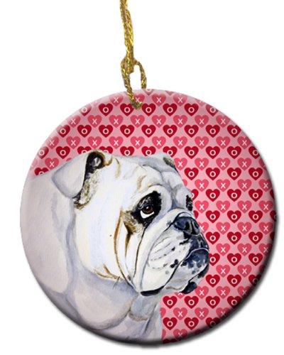 Carolines Treasures LH9139CO1 Bulldog English Valentines Love and Hearts Ceramic Ornament Multicolor 3 in